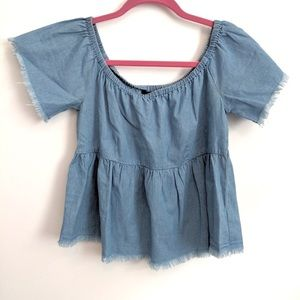 Off the shoulder raw edge top